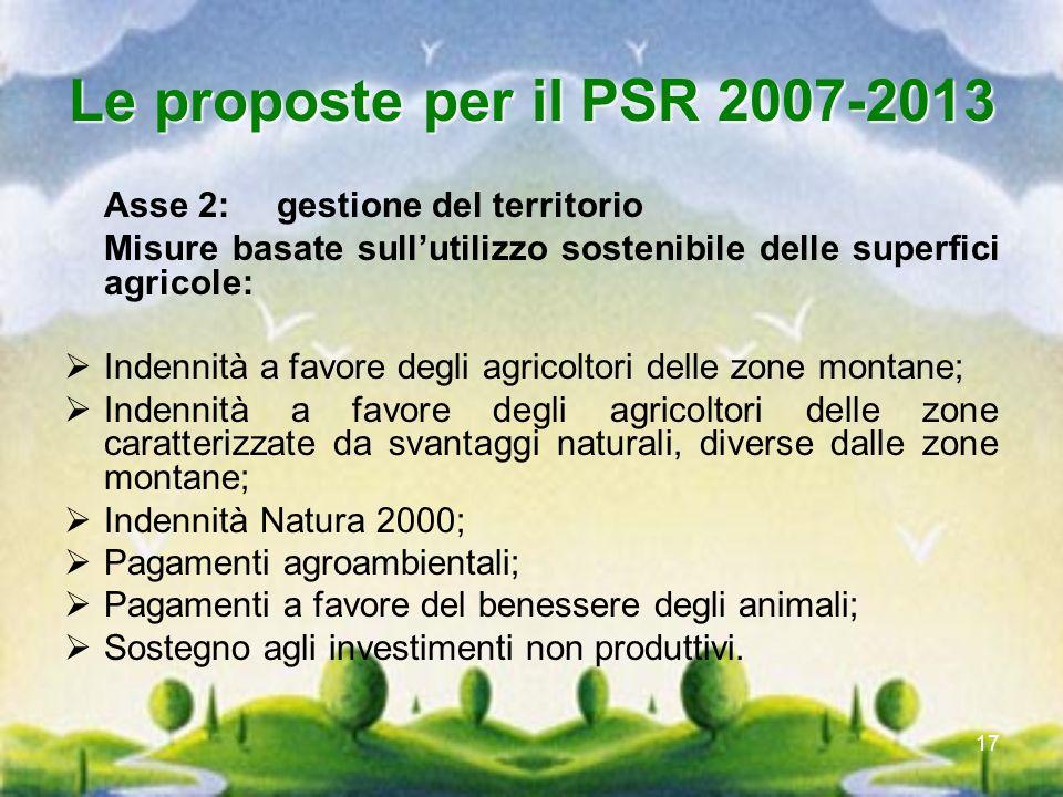 17 Le proposte per il PSR 2007-2013 Asse 2: gestione del territorio Misure basate sullutilizzo sostenibile delle superfici agricole: Indennità a favor