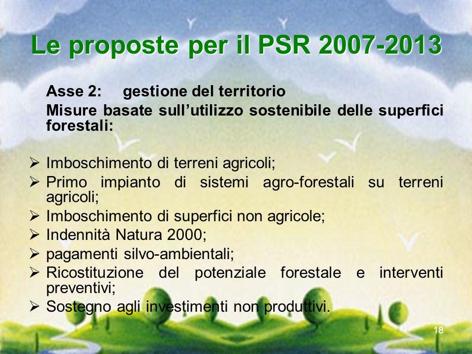 18 Le proposte per il PSR 2007-2013 Asse 2: gestione del territorio Misure basate sullutilizzo sostenibile delle superfici forestali: Imboschimento di