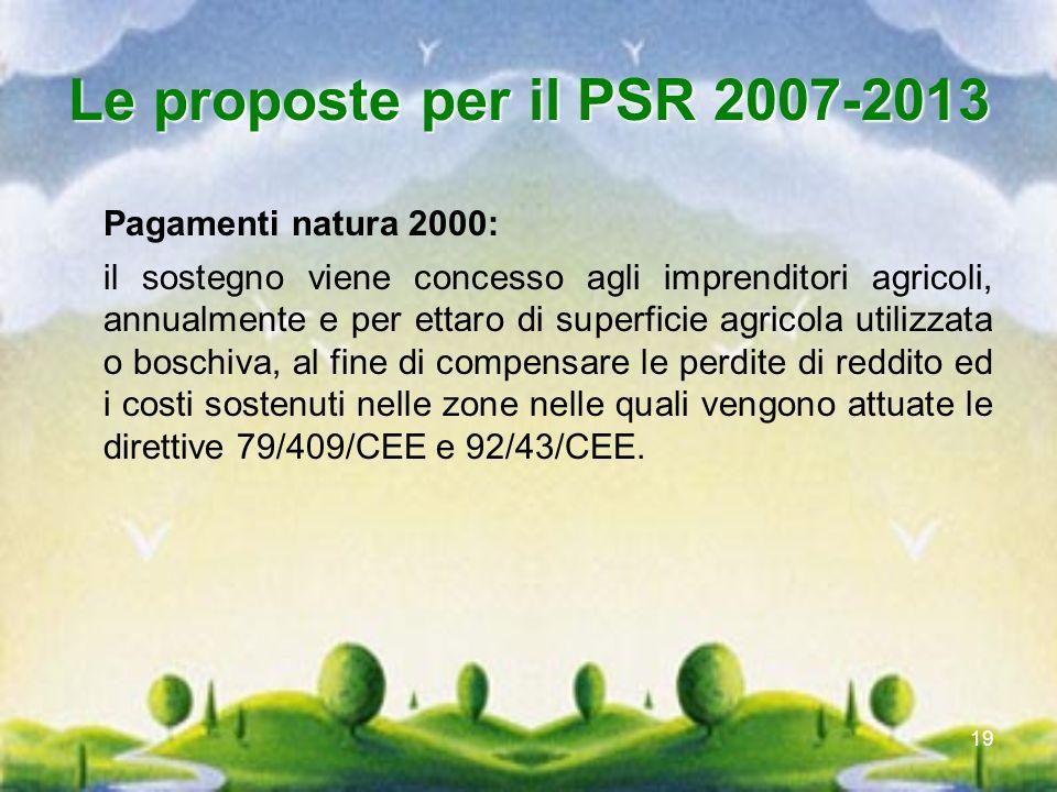 19 Le proposte per il PSR 2007-2013 Pagamenti natura 2000: il sostegno viene concesso agli imprenditori agricoli, annualmente e per ettaro di superfic
