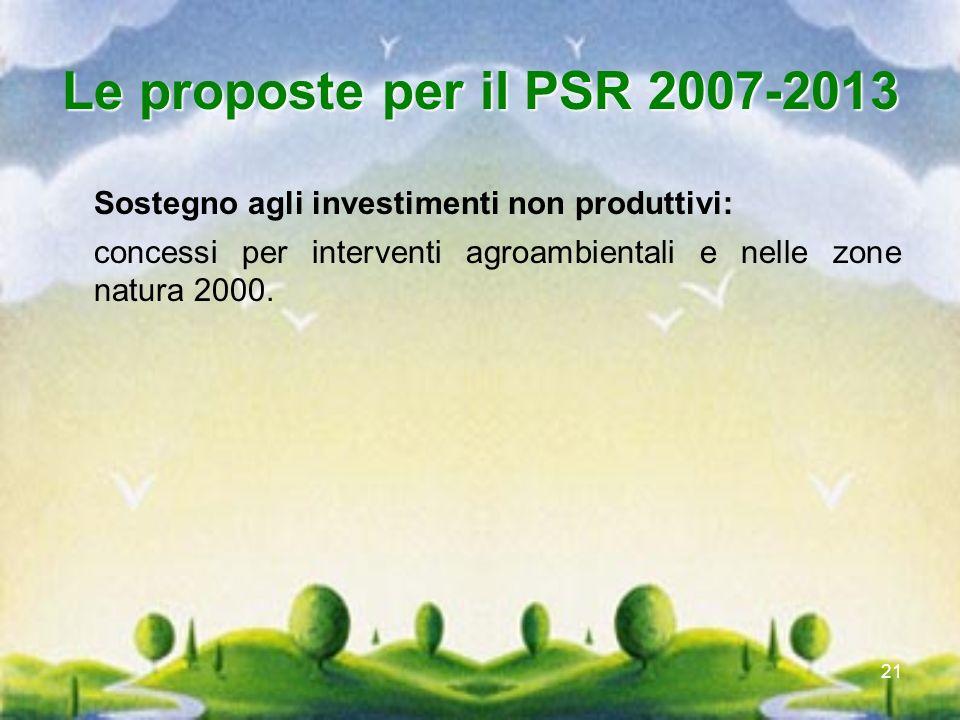 21 Le proposte per il PSR 2007-2013 Sostegno agli investimenti non produttivi: concessi per interventi agroambientali e nelle zone natura 2000.