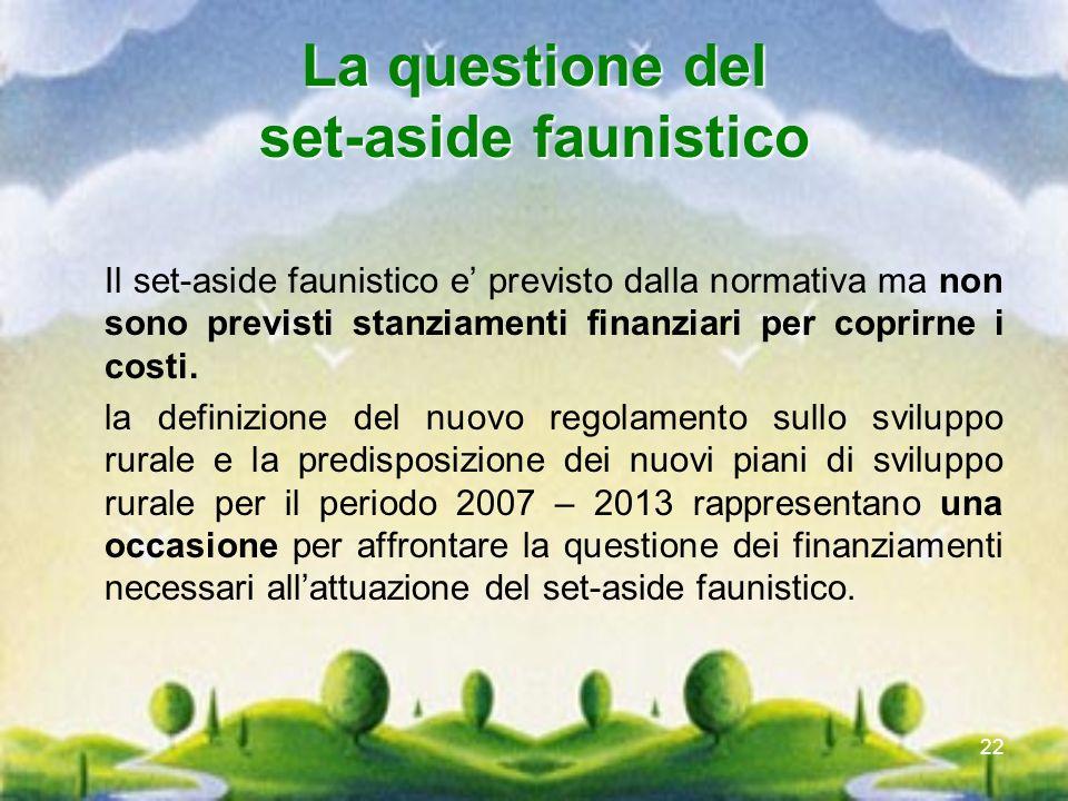 22 La questione del set-aside faunistico Il set-aside faunistico e previsto dalla normativa ma non sono previsti stanziamenti finanziari per coprirne