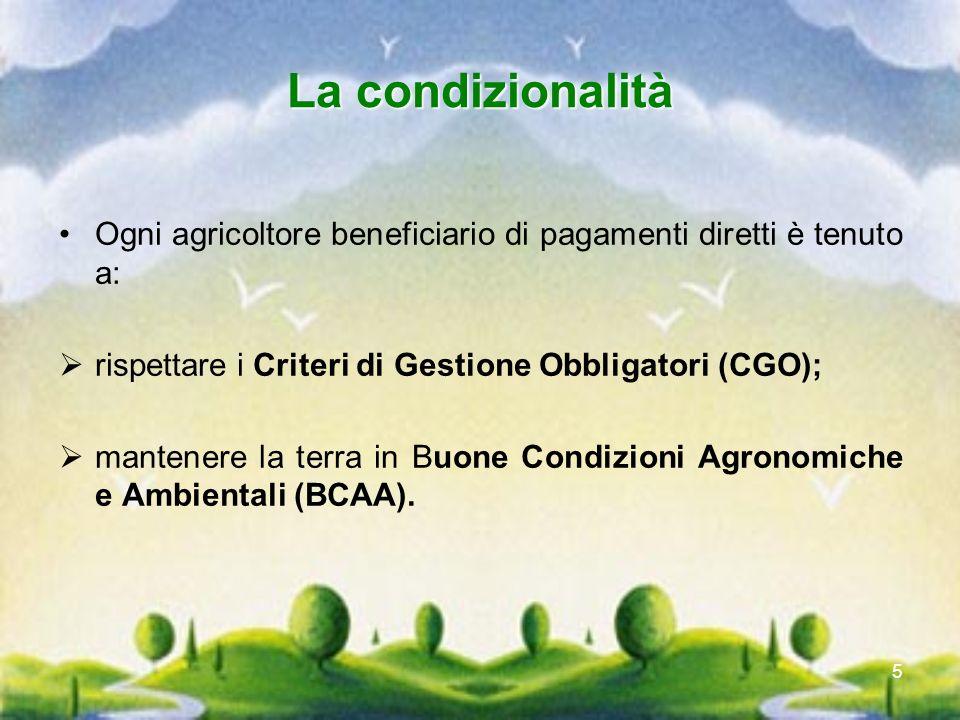 5 La condizionalità Ogni agricoltore beneficiario di pagamenti diretti è tenuto a: rispettare i Criteri di Gestione Obbligatori (CGO); mantenere la te
