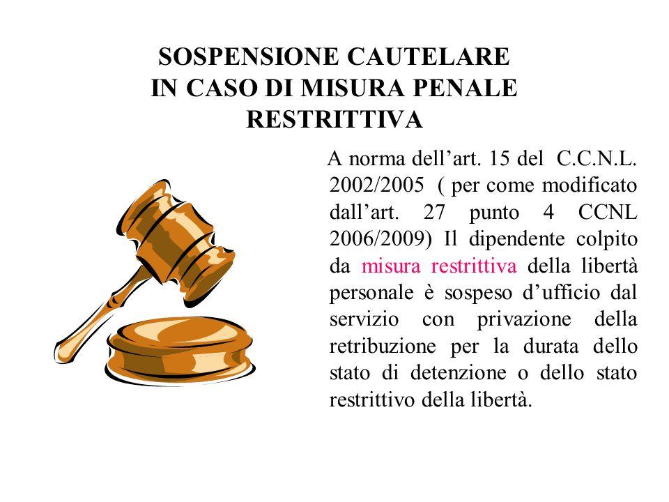 SOSPENSIONE CAUTELARE IN CASO DI MISURA PENALE RESTRITTIVA A norma dellart. 15 del C.C.N.L. 2002/2005 ( per come modificato dallart. 27 punto 4 CCNL 2