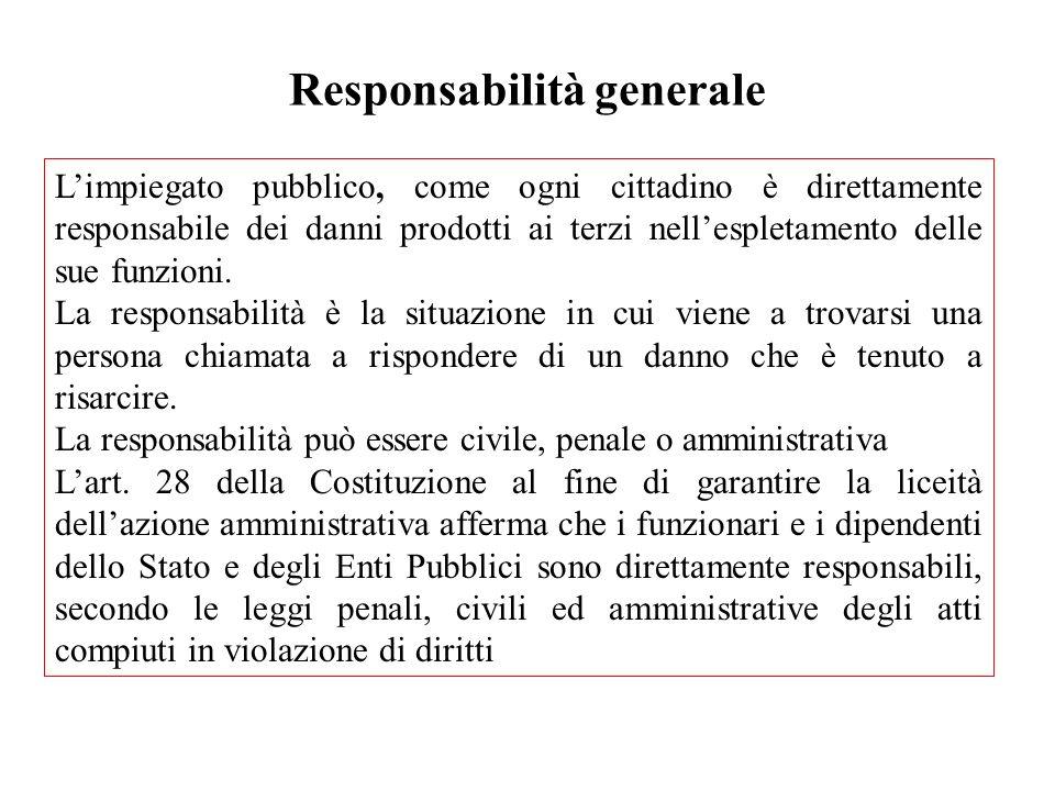 Responsabilità generale Limpiegato pubblico, come ogni cittadino è direttamente responsabile dei danni prodotti ai terzi nellespletamento delle sue fu