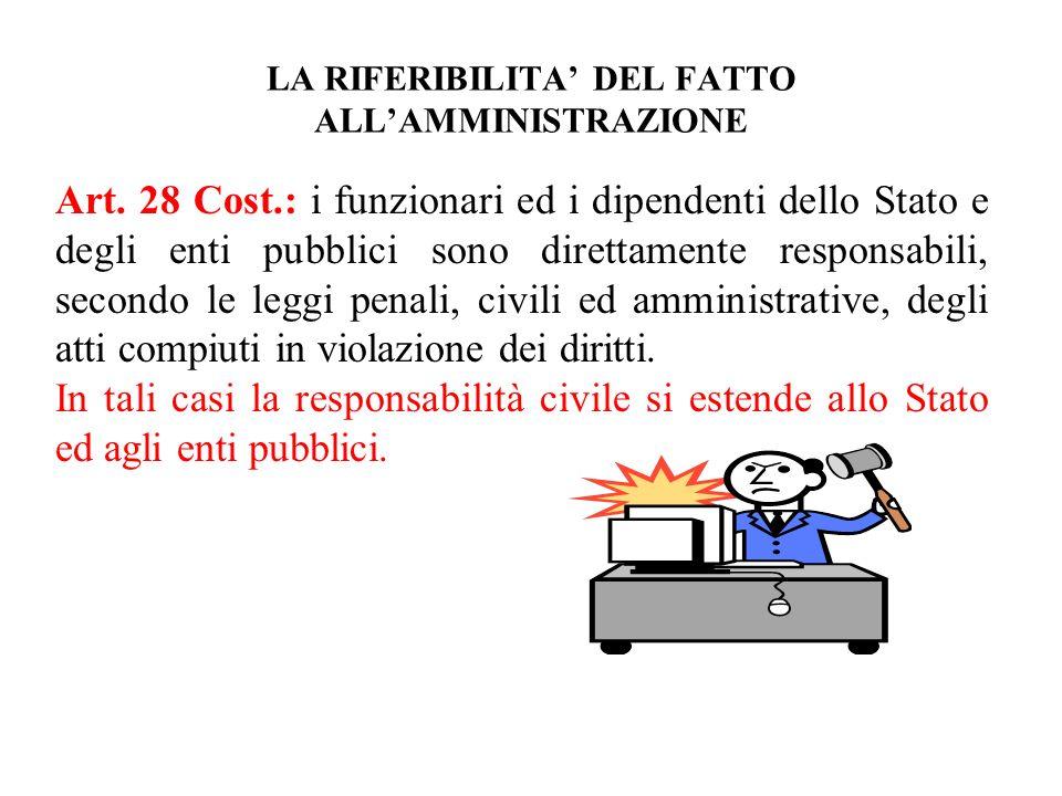 LA RIFERIBILITA DEL FATTO ALLAMMINISTRAZIONE Art. 28 Cost.: i funzionari ed i dipendenti dello Stato e degli enti pubblici sono direttamente responsab