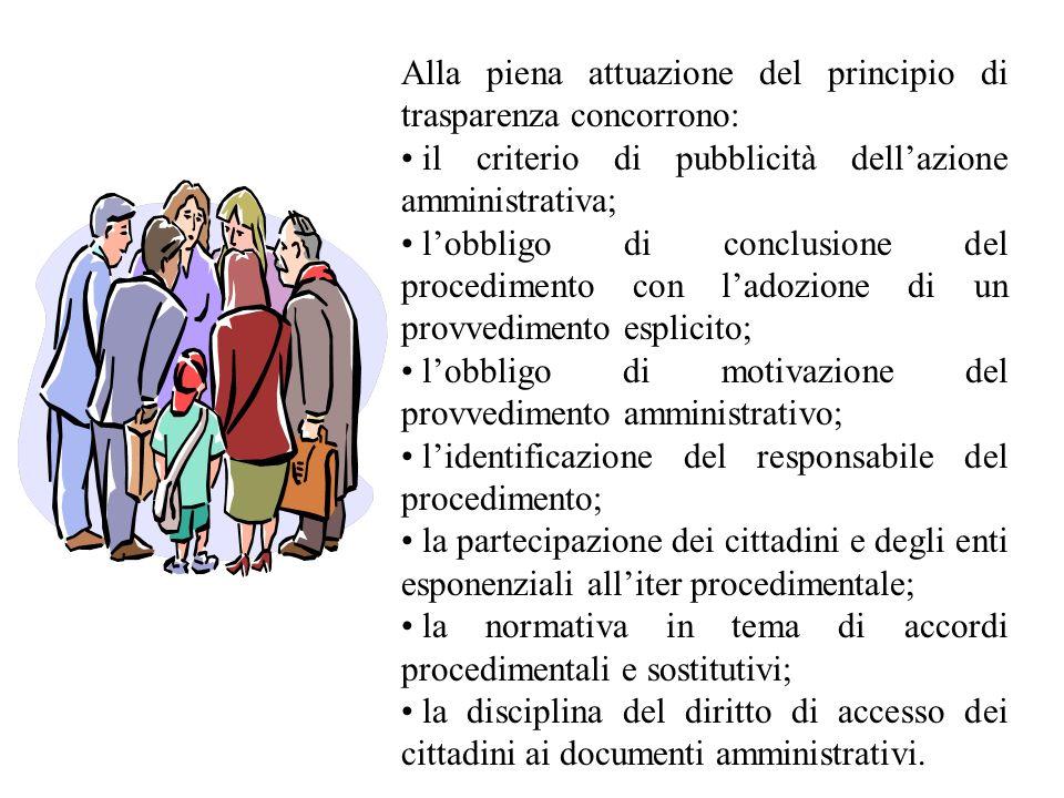 Alla piena attuazione del principio di trasparenza concorrono: il criterio di pubblicità dellazione amministrativa; lobbligo di conclusione del proced