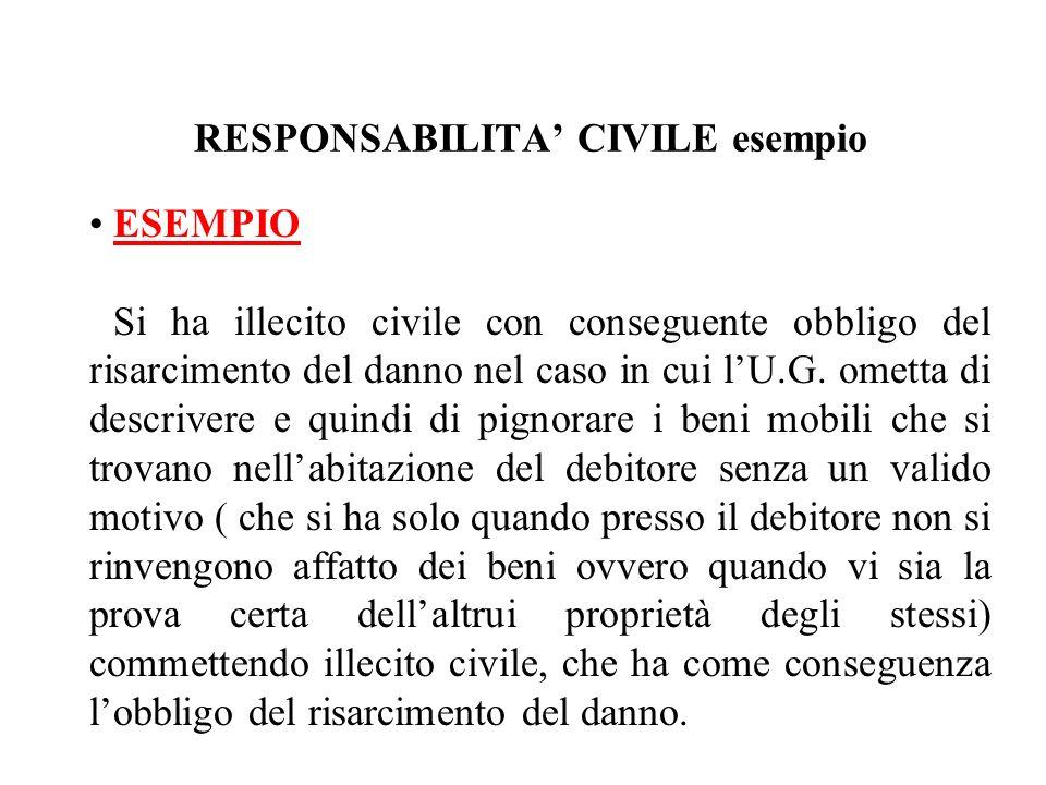 RESPONSABILITA CIVILE esempio ESEMPIO Si ha illecito civile con conseguente obbligo del risarcimento del danno nel caso in cui lU.G. ometta di descriv