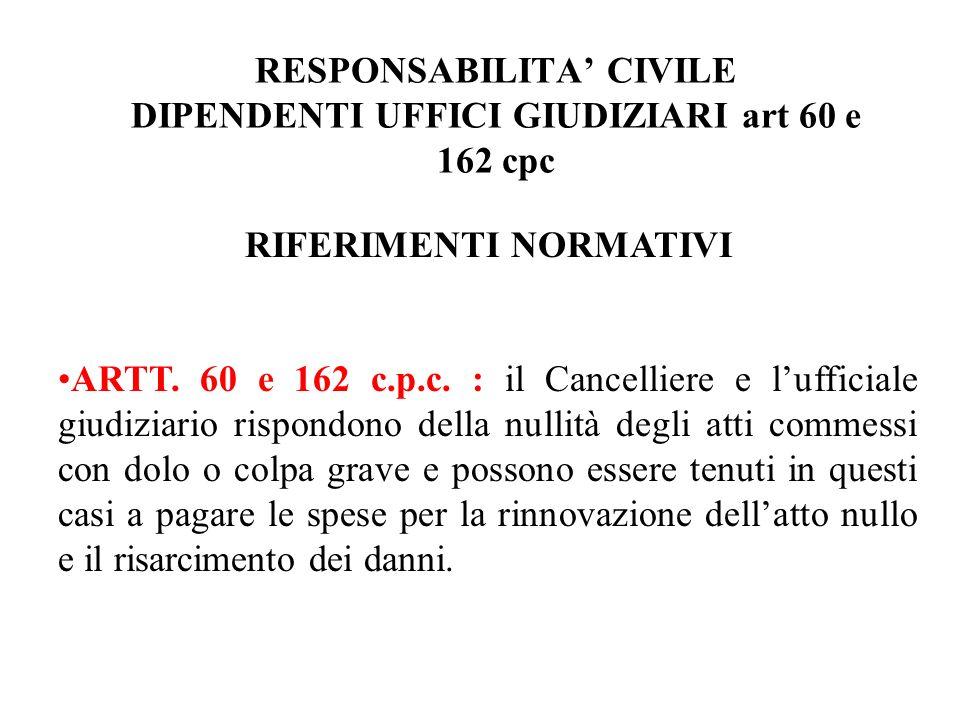 RESPONSABILITA CIVILE DIPENDENTI UFFICI GIUDIZIARI art 60 e 162 cpc RIFERIMENTI NORMATIVI ARTT. 60 e 162 c.p.c. : il Cancelliere e lufficiale giudizia