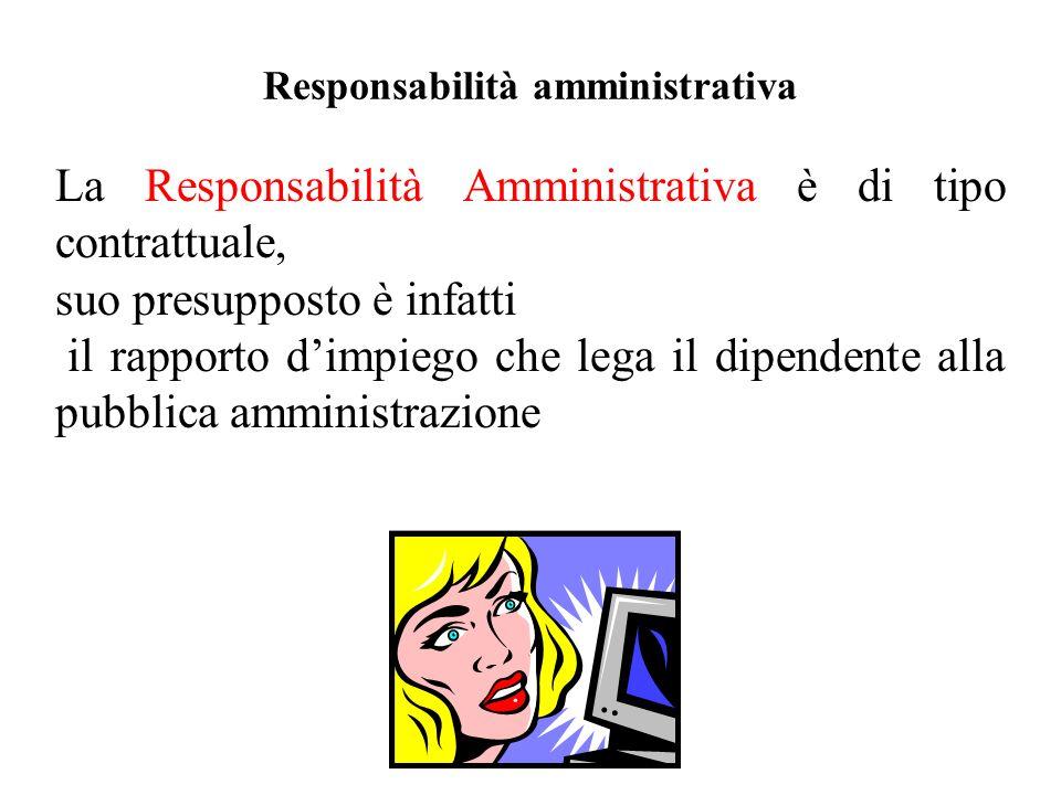 Responsabilità amministrativa La Responsabilità Amministrativa è di tipo contrattuale, suo presupposto è infatti il rapporto dimpiego che lega il dipe