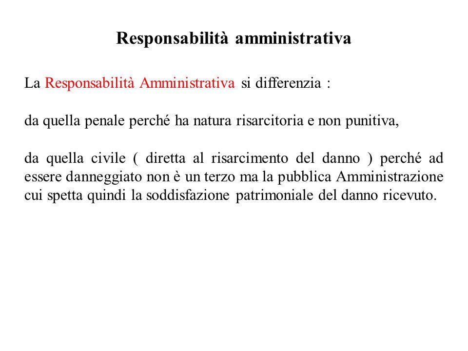 Responsabilità amministrativa La Responsabilità Amministrativa si differenzia : da quella penale perché ha natura risarcitoria e non punitiva, da quel