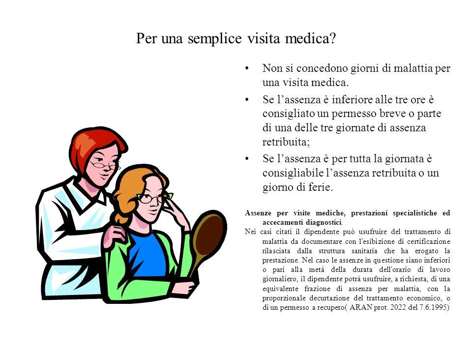 Per una semplice visita medica? Non si concedono giorni di malattia per una visita medica. Se lassenza è inferiore alle tre ore è consigliato un perme