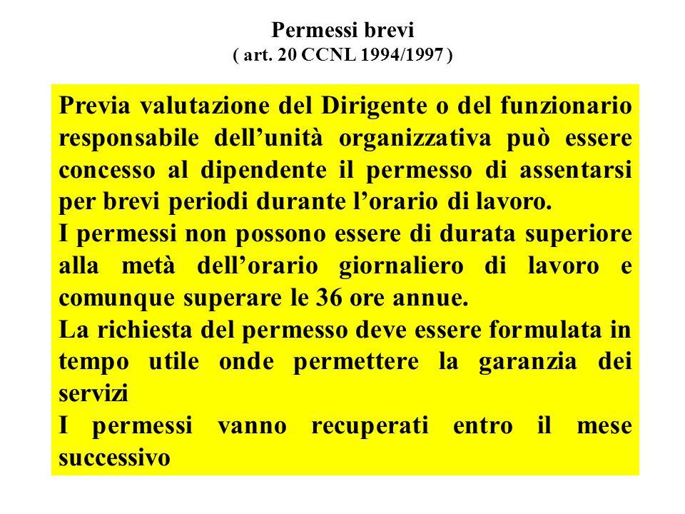 Permessi brevi ( art. 20 CCNL 1994/1997 ) Previa valutazione del Dirigente o del funzionario responsabile dellunità organizzativa può essere concesso