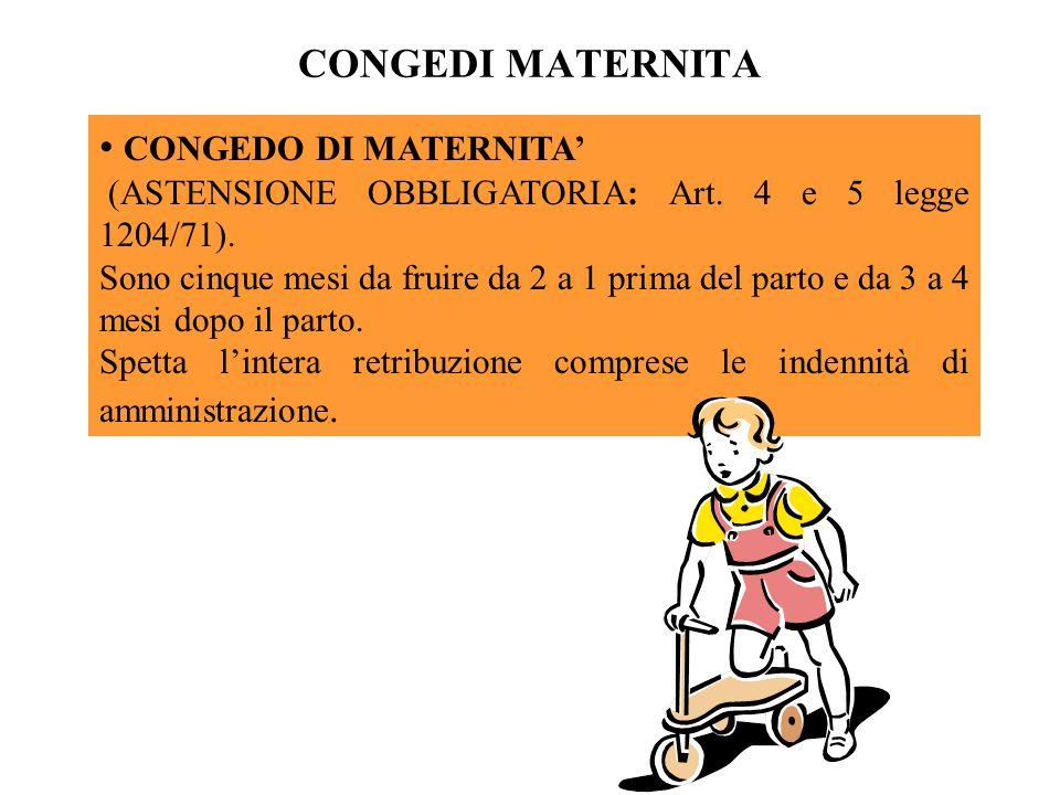 CONGEDI MATERNITA CONGEDO DI MATERNITA (ASTENSIONE OBBLIGATORIA: Art. 4 e 5 legge 1204/71). Sono cinque mesi da fruire da 2 a 1 prima del parto e da 3