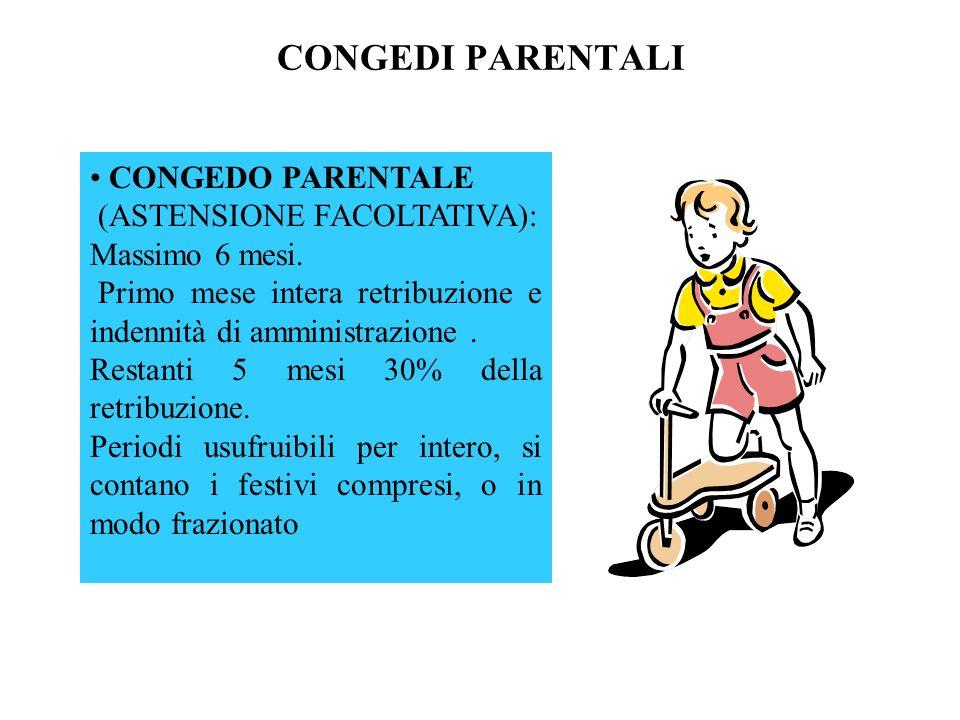 CONGEDI PARENTALI CONGEDO PARENTALE (ASTENSIONE FACOLTATIVA): Massimo 6 mesi. Primo mese intera retribuzione e indennità di amministrazione. Restanti