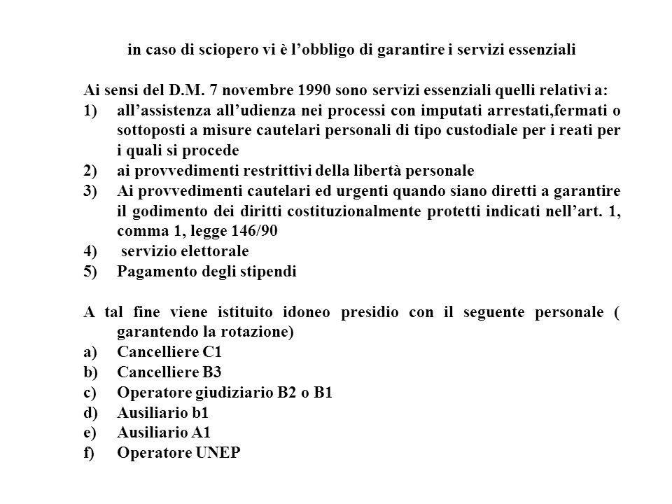 in caso di sciopero vi è lobbligo di garantire i servizi essenziali Ai sensi del D.M. 7 novembre 1990 sono servizi essenziali quelli relativi a: 1) al