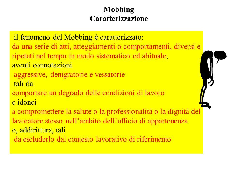 Mobbing Caratterizzazione il fenomeno del Mobbing è caratterizzato: da una serie di atti, atteggiamenti o comportamenti, diversi e ripetuti nel tempo