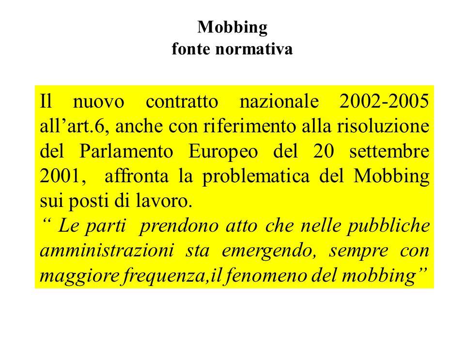 Mobbing fonte normativa Il nuovo contratto nazionale 2002-2005 allart.6, anche con riferimento alla risoluzione del Parlamento Europeo del 20 settembr