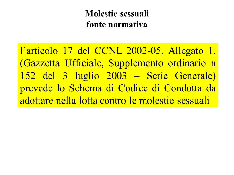 Molestie sessuali fonte normativa larticolo 17 del CCNL 2002-05, Allegato 1, (Gazzetta Ufficiale, Supplemento ordinario n 152 del 3 luglio 2003 – Seri