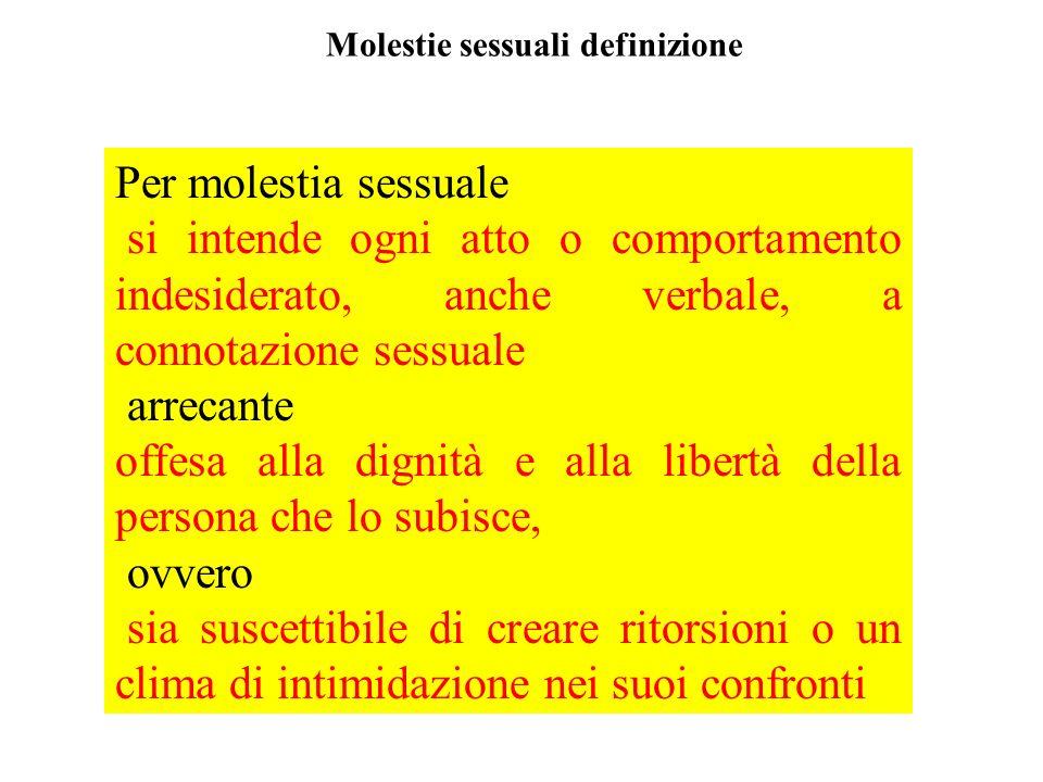 Molestie sessuali definizione Per molestia sessuale si intende ogni atto o comportamento indesiderato, anche verbale, a connotazione sessuale arrecant