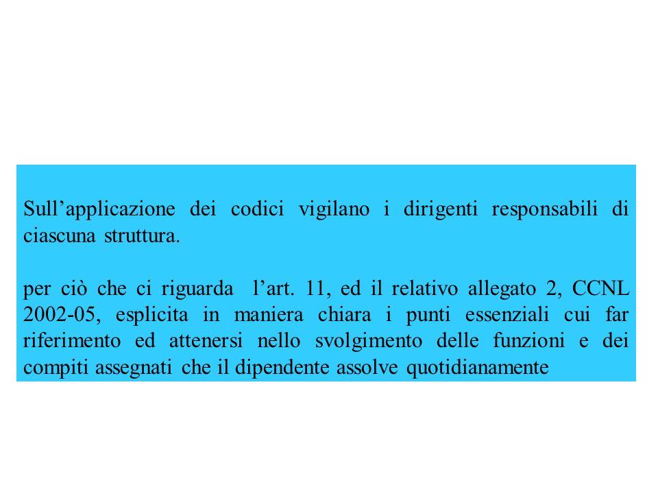 Sullapplicazione dei codici vigilano i dirigenti responsabili di ciascuna struttura. per ciò che ci riguarda lart. 11, ed il relativo allegato 2, CCNL