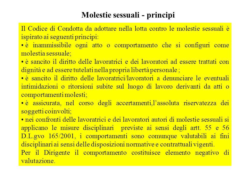 Molestie sessuali - principi Il Codice di Condotta da adottare nella lotta contro le molestie sessuali è ispirato ai seguenti principi: è inammissibil