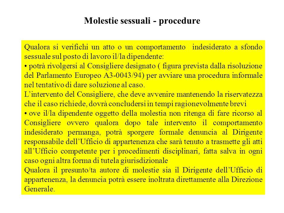 Molestie sessuali - procedure Qualora si verifichi un atto o un comportamento indesiderato a sfondo sessuale sul posto di lavoro il/la dipendente: pot