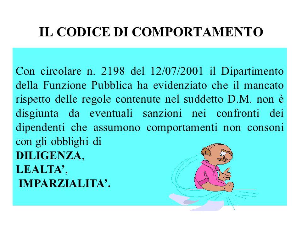 IL CODICE DI COMPORTAMENTO Con circolare n. 2198 del 12/07/2001 il Dipartimento della Funzione Pubblica ha evidenziato che il mancato rispetto delle r