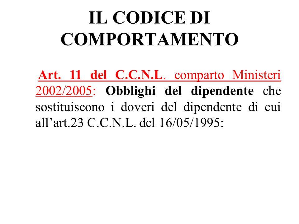 IL CODICE DI COMPORTAMENTO Art. 11 del C.C.N.L. comparto Ministeri 2002/2005: Obblighi del dipendente che sostituiscono i doveri del dipendente di cui