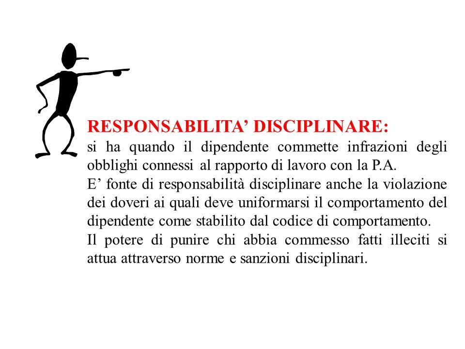 RESPONSABILITA DISCIPLINARE: si ha quando il dipendente commette infrazioni degli obblighi connessi al rapporto di lavoro con la P.A. E fonte di respo