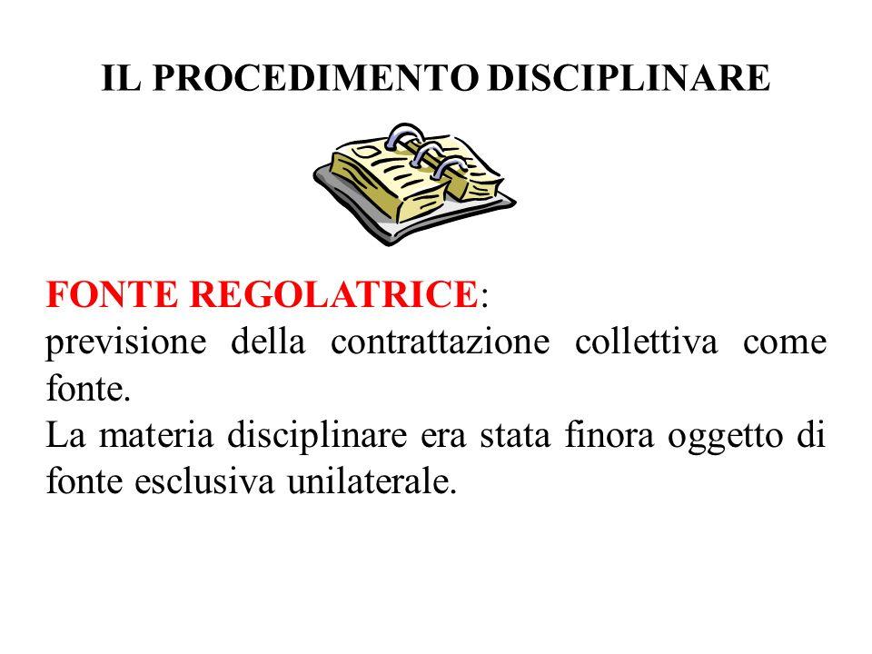 IL PROCEDIMENTO DISCIPLINARE FONTE REGOLATRICE: previsione della contrattazione collettiva come fonte. La materia disciplinare era stata finora oggett