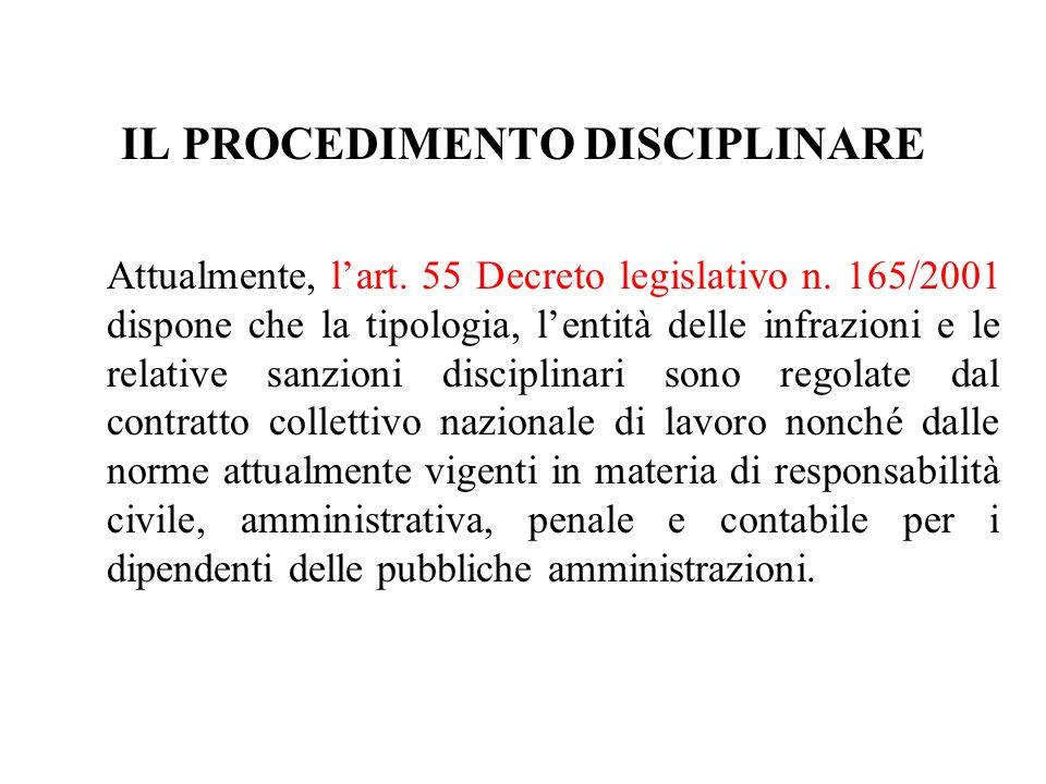 IL PROCEDIMENTO DISCIPLINARE Attualmente, lart. 55 Decreto legislativo n. 165/2001 dispone che la tipologia, lentità delle infrazioni e le relative sa
