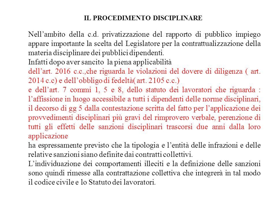 IL PROCEDIMENTO DISCIPLINARE Nellambito della c.d. privatizzazione del rapporto di pubblico impiego appare importante la scelta del Legislatore per la