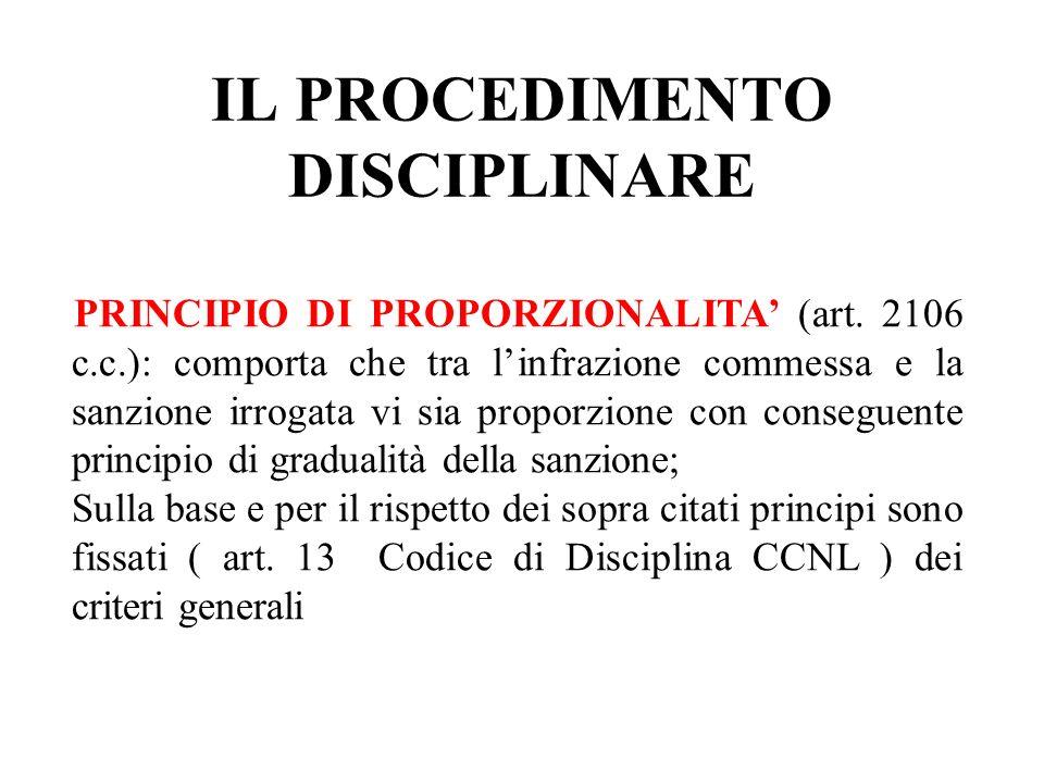 IL PROCEDIMENTO DISCIPLINARE PRINCIPIO DI PROPORZIONALITA (art. 2106 c.c.): comporta che tra linfrazione commessa e la sanzione irrogata vi sia propor