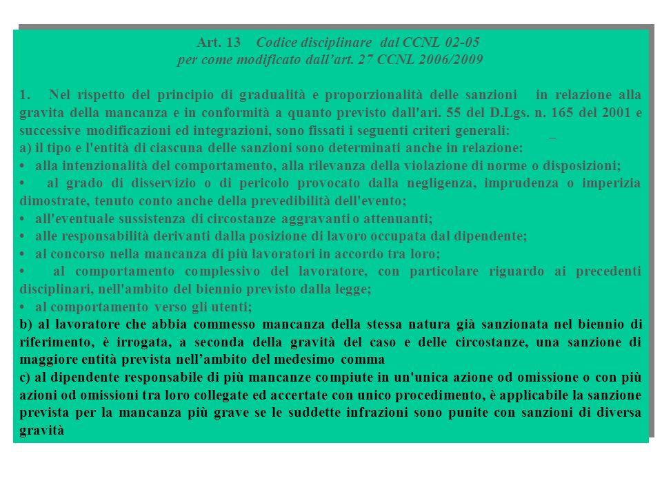 Art. 13 Codice disciplinare dal CCNL 02-05 per come modificato dallart. 27 CCNL 2006/2009 1. Nel rispetto del principio di gradualità e proporzionalit