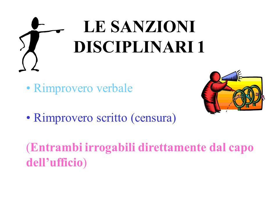 LE SANZIONI DISCIPLINARI 1 Rimprovero verbale Rimprovero scritto (censura) (Entrambi irrogabili direttamente dal capo dellufficio)