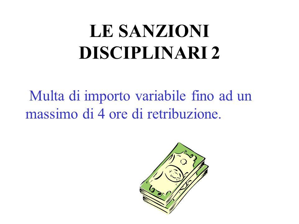 LE SANZIONI DISCIPLINARI 2 Multa di importo variabile fino ad un massimo di 4 ore di retribuzione.