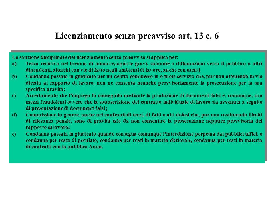 Licenziamento senza preavviso art. 13 c. 6 La sanzione disciplinare del licenziamento senza preavviso si applica per: a)Terza recidiva nel biennio di