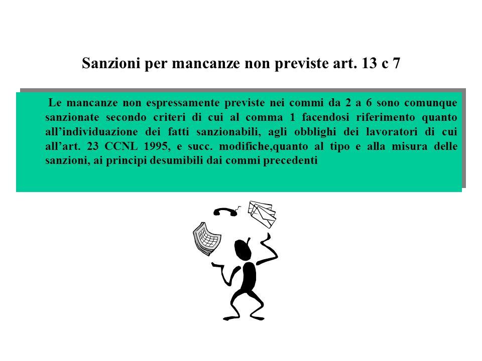 Sanzioni per mancanze non previste art. 13 c 7 Le mancanze non espressamente previste nei commi da 2 a 6 sono comunque sanzionate secondo criteri di c