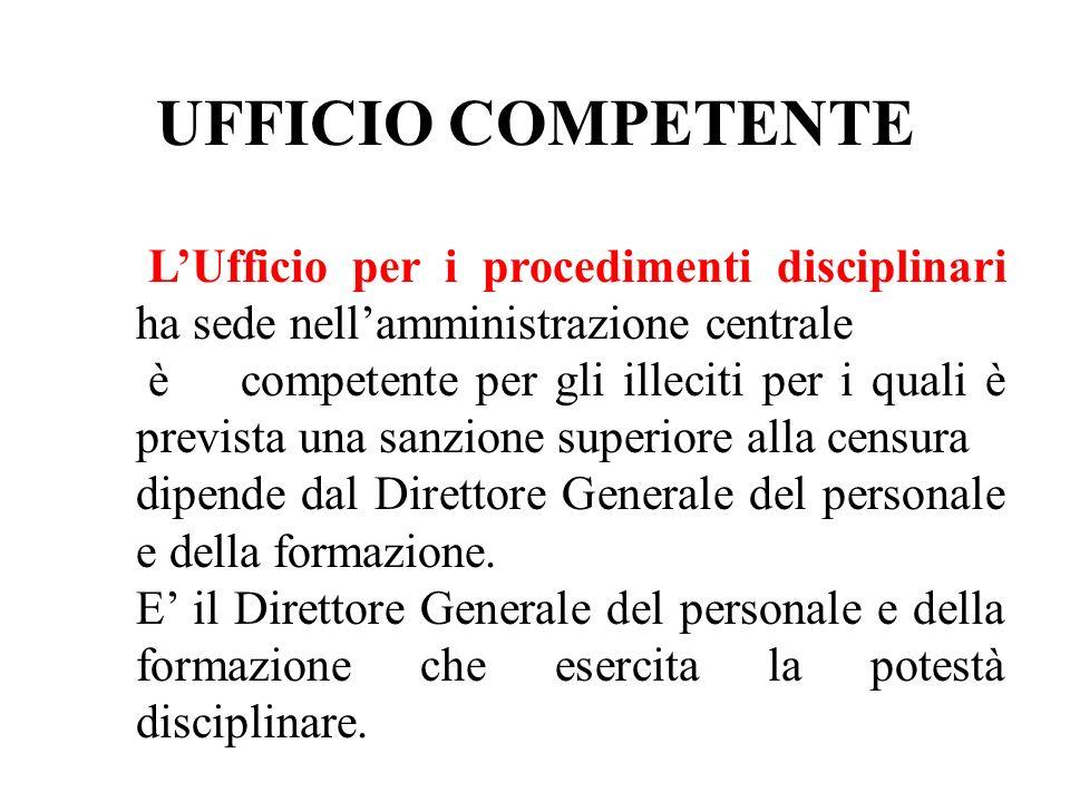 UFFICIO COMPETENTE LUfficio per i procedimenti disciplinari ha sede nellamministrazione centrale è competente per gli illeciti per i quali è prevista