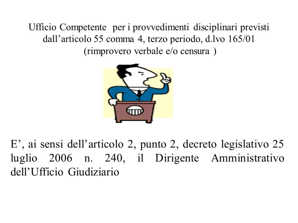 E, ai sensi dellarticolo 2, punto 2, decreto legislativo 25 luglio 2006 n. 240, il Dirigente Amministrativo dellUfficio Giudiziario Ufficio Competente
