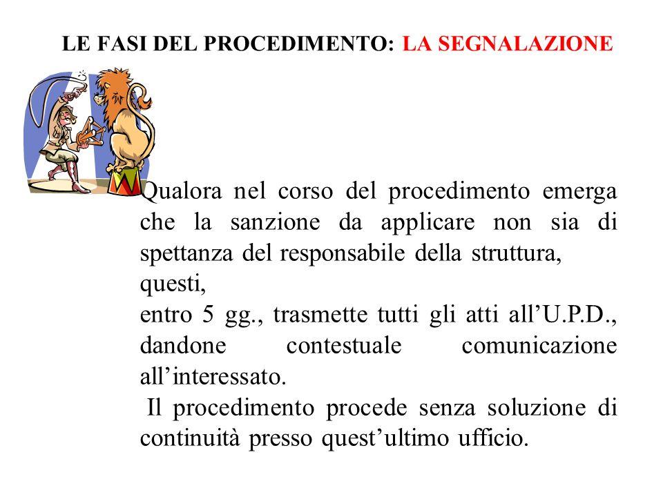 LE FASI DEL PROCEDIMENTO: LA SEGNALAZIONE Qualora nel corso del procedimento emerga che la sanzione da applicare non sia di spettanza del responsabile