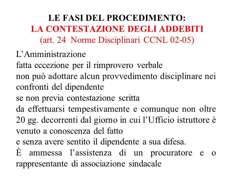 LE FASI DEL PROCEDIMENTO: LA CONTESTAZIONE DEGLI ADDEBITI (art. 24 Norme Disciplinari CCNL 02-05) LAmministrazione fatta eccezione per il rimprovero v