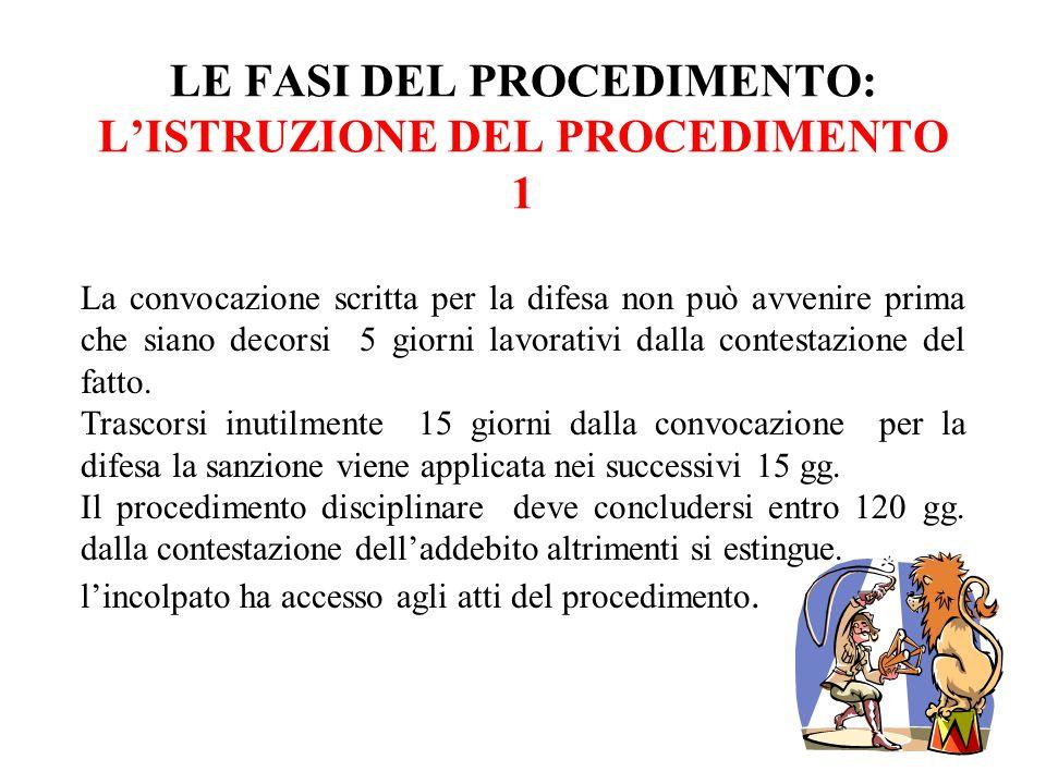 LE FASI DEL PROCEDIMENTO: LISTRUZIONE DEL PROCEDIMENTO 1 La convocazione scritta per la difesa non può avvenire prima che siano decorsi 5 giorni lavor