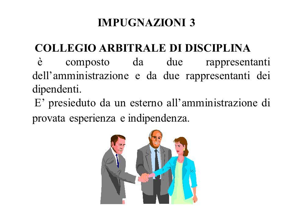 IMPUGNAZIONI 3 COLLEGIO ARBITRALE DI DISCIPLINA è composto da due rappresentanti dellamministrazione e da due rappresentanti dei dipendenti. E presied