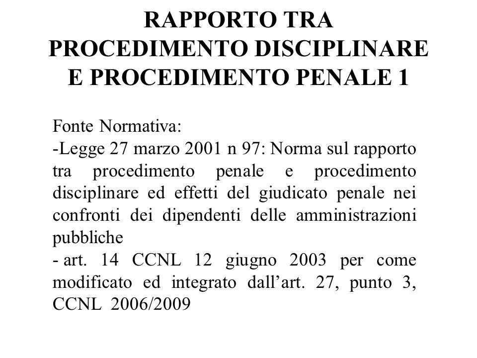 RAPPORTO TRA PROCEDIMENTO DISCIPLINARE E PROCEDIMENTO PENALE 1 Fonte Normativa: -Legge 27 marzo 2001 n 97: Norma sul rapporto tra procedimento penale