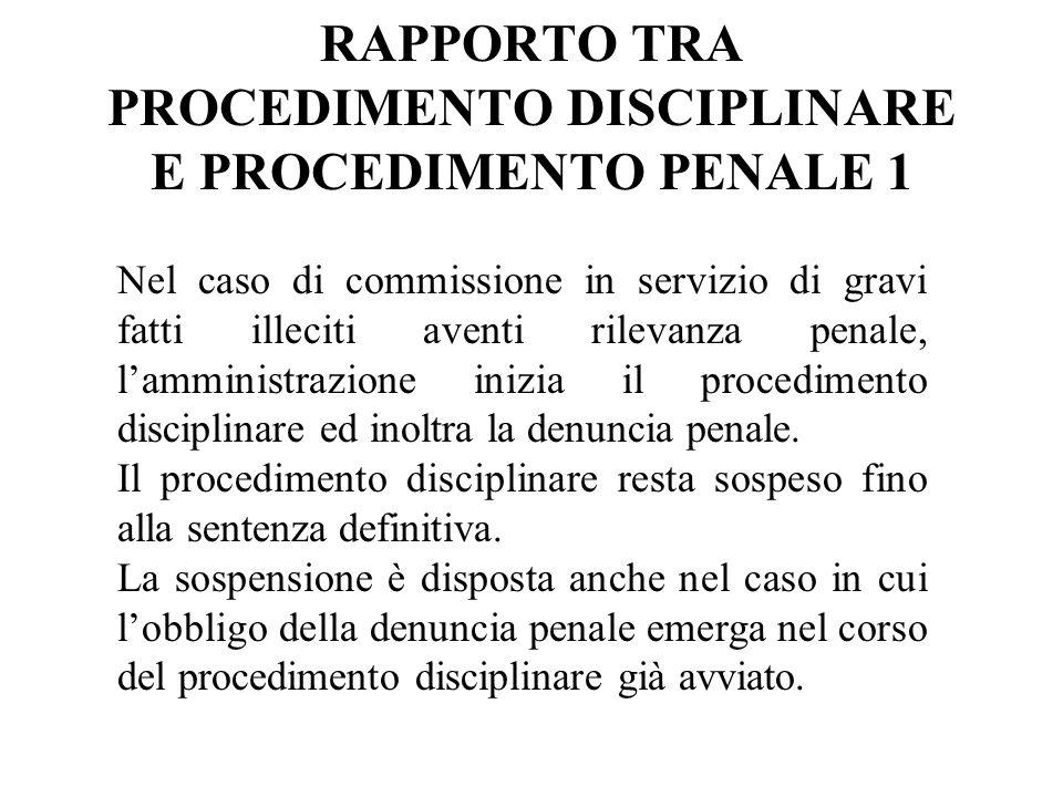 RAPPORTO TRA PROCEDIMENTO DISCIPLINARE E PROCEDIMENTO PENALE 1 Nel caso di commissione in servizio di gravi fatti illeciti aventi rilevanza penale, la