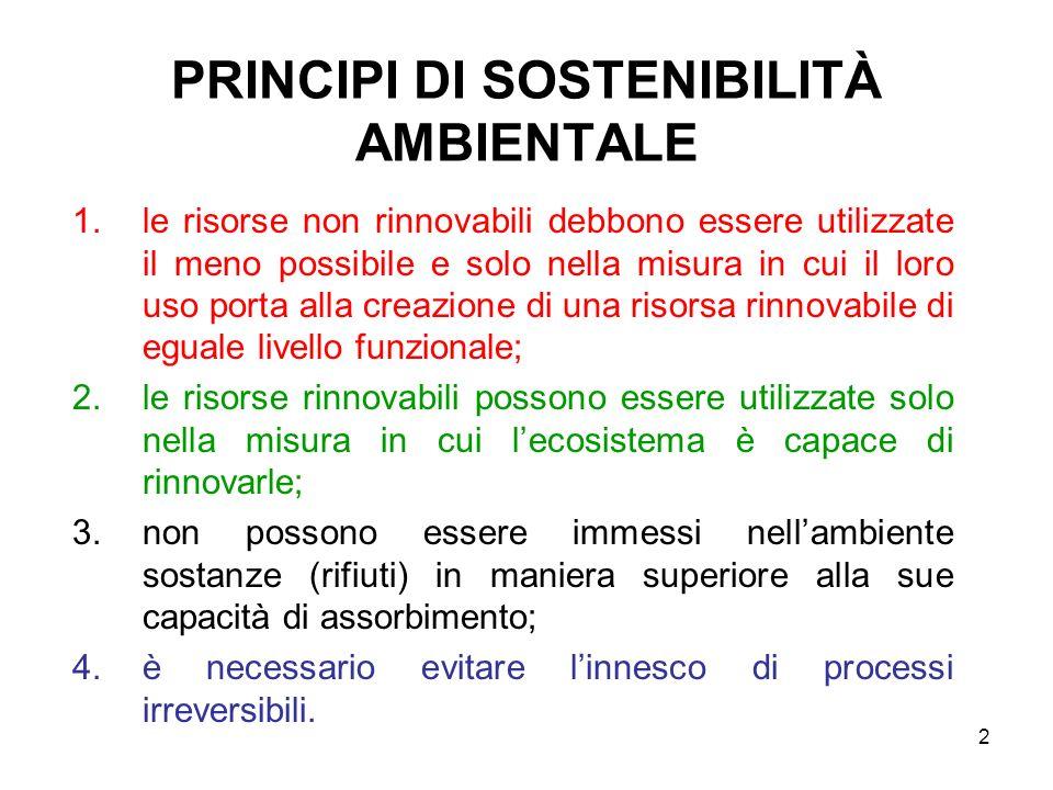 2 PRINCIPI DI SOSTENIBILITÀ AMBIENTALE 1.le risorse non rinnovabili debbono essere utilizzate il meno possibile e solo nella misura in cui il loro uso