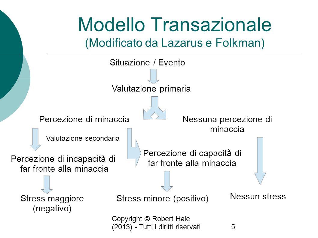 Copyright © Robert Hale (2013) - Tutti i diritti riservati.5 Modello Transazionale (Modificato da Lazarus e Folkman) Situazione / Evento Valutazione p