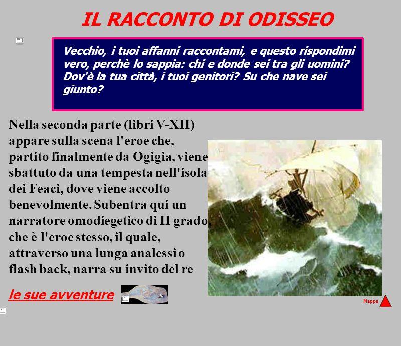 IL RACCONTO DI ODISSEO Nella seconda parte (libri V-XII) appare sulla scena l'eroe che, partito finalmente da Ogigia, viene sbattuto da una tempesta n