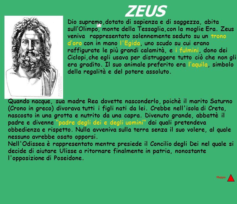 ZEUS Dio supremo,dotato di sapienza e di saggezza, abita sullOlimpo, monte della Tessaglia,con la moglie Era. Zeus veniva rappresentato solennemente s